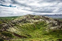 Krajobraz z mech, trawą i pięknym chmurnym niebem, Fotografia Royalty Free