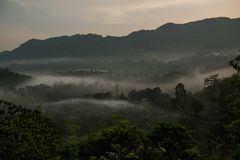 Krajobraz z mgłą należy góry zdjęcie royalty free