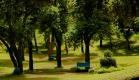 Krajobraz z parkową ławką w Bryant parku obraz stock