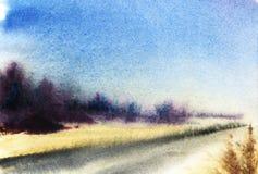 Krajobraz z popielatą drogą, obracającą horyzont, kolorów żółtych pola i v, ilustracji