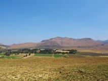 Krajobraz z rolnymi polami w Południowym Drakensberg Fotografia Stock
