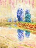 Krajobraz z rzeką i drzewa na brzeg royalty ilustracja