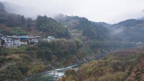 Krajobraz z rzeką w Japonia obrazy royalty free