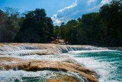 Krajobraz z siklawy Agua Azul, Chiapas, Palenque, Meksyk Zdjęcie Stock
