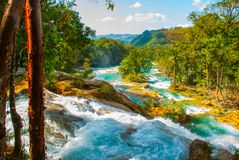 Krajobraz z siklawy Agua Azul, Chiapas, Palenque, Meksyk Obraz Royalty Free