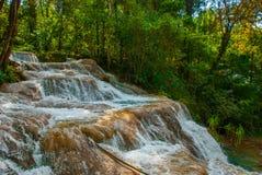 Krajobraz z siklawy Agua Azul, Chiapas, Palenque, Meksyk Ogromni kamienie na których płynie woda Zdjęcia Royalty Free