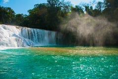 Krajobraz z siklawy nadzwyczajnym Agua Azul, Chiapas, Palenque, Meksyk Obraz Royalty Free