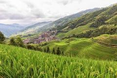 Krajobraz z starą wioską i tarasowatymi ryżowymi polami w Chiny Zdjęcie Stock