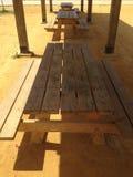 Krajobraz z tłem drewniani stoły Fotografia Royalty Free
