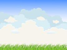 Krajobraz z traw chmurami i niebem ilustracja wektor