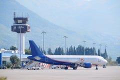 Krajobraz z widokiem Tivat lotnisko obrazy stock