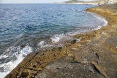 Krajobraz z wodą i skały w Thassos wyspie, Grecja, obok naturalnego basenu dzwoniącego Giola Obrazy Royalty Free