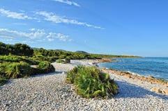 Krajobraz z wybrzeżem morze w Hiszpania. Fotografia Stock