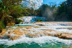 Krajobraz z zadziwiającym siklawy Agua Azul, Chiapas, Palenque, Meksyk Zdjęcia Stock