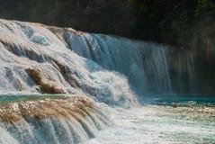 Krajobraz z zadziwiającym siklawy Agua Azul, Chiapas, Palenque, Meksyk Fotografia Royalty Free