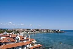 Krajobraz zatoka w Sozopol, Bułgaria. Widok na Czarnym morzu Obraz Stock