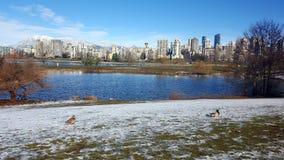 Krajobrazowa budynku parka zima Vancouver obrazy stock