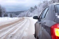 Krajobrazowa droga w zima lesie z śniegiem zakrywającym Obrazy Stock