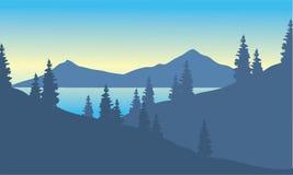 Krajobrazowa góra z świerczyną ilustracji