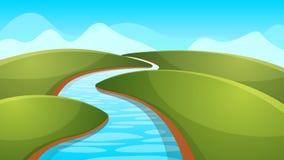 Krajobrazowa kreskówka, ilustracja Rzeka, słońce, wzgórze Fotografia Stock