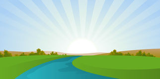 krajobrazowa kreskówki rzeka royalty ilustracja