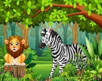Krajobrazowa lasowa kreskówka zieleń w wiośnie z zwierzętami royalty ilustracja