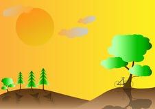 Krajobrazowa natura góra i bicykl Fotografia Royalty Free