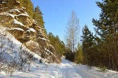 krajobrazowa rosyjska wioski zima Piaskowcowe falezy Końcówka Luty równo Obraz Royalty Free