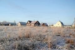 krajobrazowa rosyjska wioski zima Wioski ulica Obrazy Stock