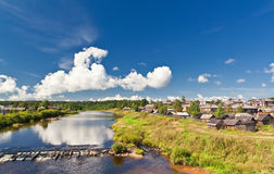 krajobrazowa rzeczna wioska Zdjęcia Stock