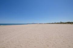 Krajobrazowa sosny plaża z Grao Castellon w horyzoncie Obrazy Stock