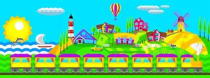 Krajobrazowa wioska ilustracja wektor