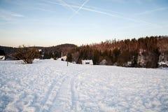 Krajobrazowa zima z niektóre domy zdjęcie royalty free