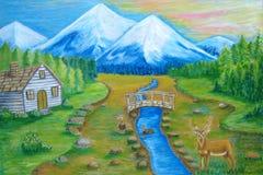 Krajobrazowe góry i kabina Zdjęcie Stock
