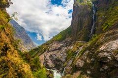 Krajobrazowe góry Wycieczkuje himalaje Pięknego widoku siklaw końcówki lata sezonu tło Zielony Threes Chmurny niebieskie niebo Zdjęcia Royalty Free