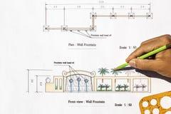 Krajobrazowego architekta projekta Nowożytna ścienna fontanna Obrazy Royalty Free