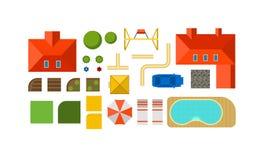 Krajobrazowego konstruktora planu intymny domowy podwórze, gazon i basenu odgórnego widoku mieszkania wektor, ilustracja wektor