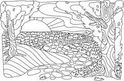 Krajobrazowy antistress Drzewo, ścieżka, słońce i chmury, Wektorowy wizerunek w stylu zentangle royalty ilustracja