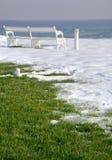 krajobrazowy ławka biel Zdjęcie Stock