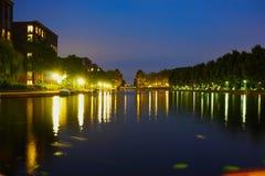 Krajobrazowy foto Amsterdam blisko erasmus parka fotografia stock