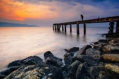 Krajobrazowy fotograf na jetty Fotografia Stock