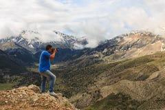 Krajobrazowy fotograf w górach Obraz Stock