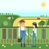 Krajobrazowy gospodarstwo rolne, dwa rolnika dba dla ich ziemi, flancowanie, zwierzęta domowe Zdjęcia Stock