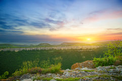 krajobrazowy halny zmierzch Fotografia Royalty Free