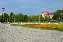 Krajobrazowy miasto Lukavac na tęczy Zdjęcia Royalty Free