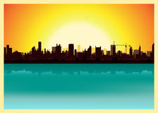 krajobrazowy miasto zmierzch ilustracji