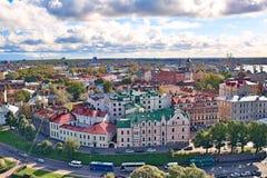 krajobrazowy miastowy nad Russia rzecznym vyborg miasto forteca Obrazy Royalty Free