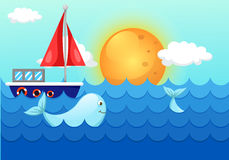 Krajobrazowy morze macha z wielorybem i łodzią Obrazy Stock