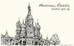 Krajobrazowy nakreślenie, Moskwa, Rosja, plac czerwony, wolna ręka rysunek Fotografia Royalty Free