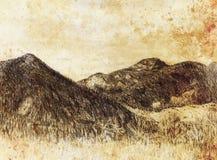 Krajobrazowy obraz i góra na starym papierowym tle royalty ilustracja